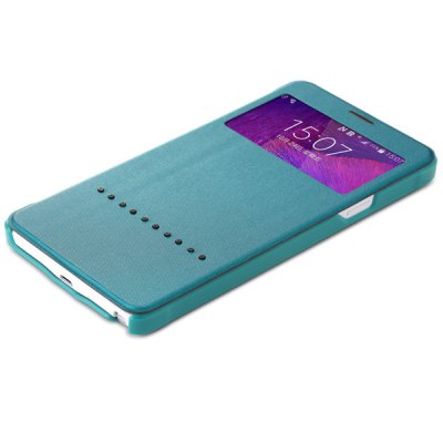 ФОТО Rock Sliding to Answer PU and PC Cover Case for Samsung Galaxy Note 4 N9100