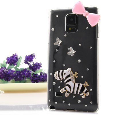 Transparent PC Material Bowknot and Horse Pattern Diamante Back Cover Case for Samsung Galaxy Note 4 N9100