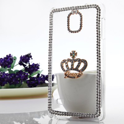 Transparent PC Material Crown Pattern Diamante Back Cover Case for Samsung Galaxy Note 4 N9100