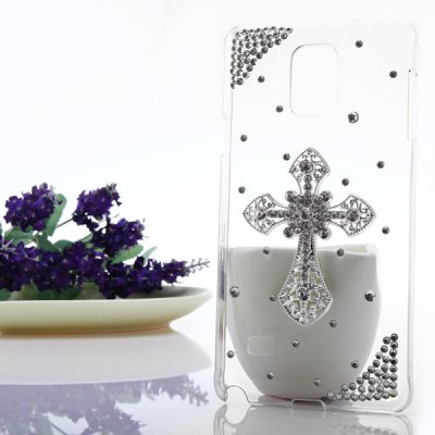 Transparent PC Material Cross Pattern Diamante Back Cover Case for Samsung Galaxy Note 4 N9100