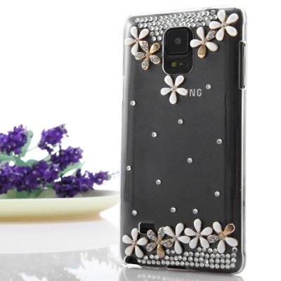 ФОТО Transparent PC Material Ten Flowers Pattern Diamante Back Cover Case for Samsung Galaxy Note 4 N9100