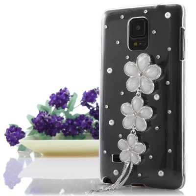 ФОТО Transparent PC Material Three Flowers Pattern Diamante Back Cover Case for Samsung Galaxy Note 4 N9100
