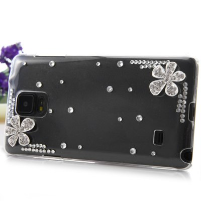 Фотография Transparent PC Material Two Flowers Pattern Diamante Back Cover Case for Samsung Galaxy Note 4 N9100