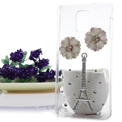 Фотография Transparent PC Material Flower and Tower Pattern Diamante Back Cover Case for Samsung Galaxy Note 4 N9100