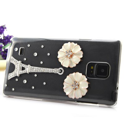 ФОТО Transparent PC Material Flower and Tower Pattern Diamante Back Cover Case for Samsung Galaxy Note 4 N9100