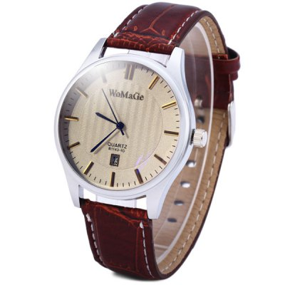 WoMaGe 1143 - 1 Men Quartz Watch with Date Round Dial Leather Strap WristwatchMens Watches<br>WoMaGe 1143 - 1 Men Quartz Watch with Date Round Dial Leather Strap Wristwatch<br><br>Watches categories: Male table<br>Watch style: Fashion<br>Available color: White, Brown, Black<br>Movement type: Quartz watch<br>Shape of the dial: Round<br>Display type: Analog<br>Case material: Alloy<br>Band material: Leather<br>Clasp type: Pin buckle<br>Special features: Date<br>The dial thickness: 1.0 cm / 0.4 inches<br>The dial diameter: 4.0 cm / 1.6 inches<br>The band width: 1.8 cm / 0.7 inches<br>Product weight: 0.041 kg<br>Product size (L x W x H): 25.4 x 4.0 x 1.0 cm / 10 x 1.6 x 0.4 inches<br>Package Contents: 1 x Watch