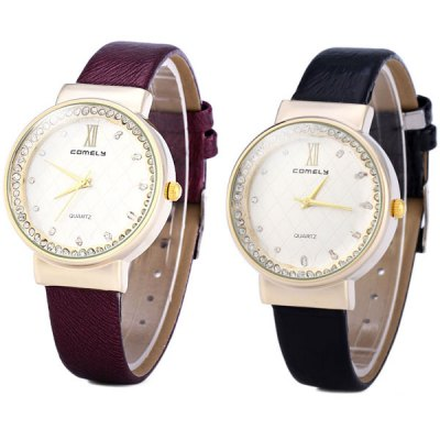 ФОТО Comely 1605 Female Diamond Quartz Watch Round Dial Leather Watchband
