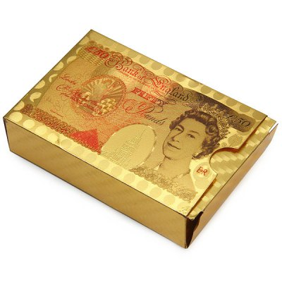 52 + 2 Poker Cards Golden Color with 50 Pound Queen Elizabeth II Image on Reverse от GearBest.com INT