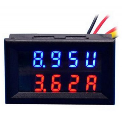 DIY DC 0 - 100V / 50A 0.28 inch 3 Digit Red Blue LED Display Voltmeter Current Meter