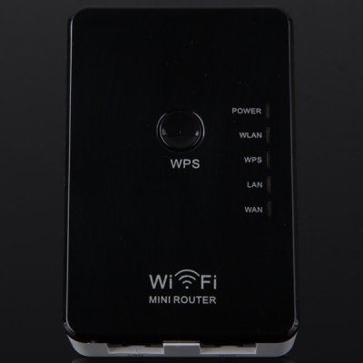 WR02 High Security 300Mbps Mini WiFi Router Repeater Wireless Signal Extender for Desktop Laptop ( AC 100  -  240V )