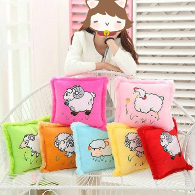 PP Cotton Filled Short Plush Square Cushion Pillow with Cute Sheep Pattern