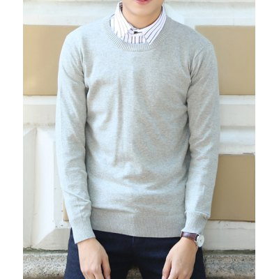 Гаджет   Simple Style Solid Color Noble Round Neck Slimming Long Sleeves Men