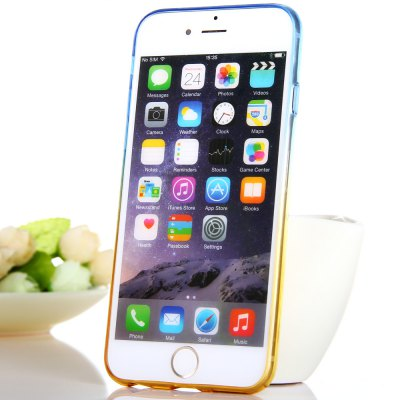 ФОТО KST Colorful Translucent TPU Material Back Case for iPhone 6 Plus  -  Blue + Yellow 5.5 inches