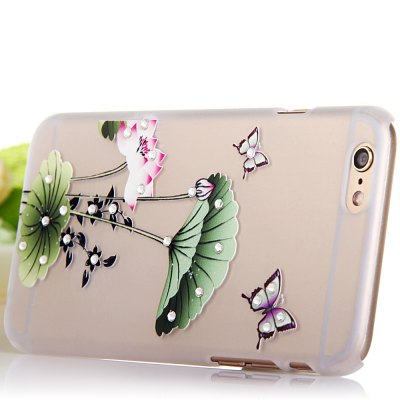 Фотография Sparkling Crystal Diamond Plastic Protective Back Case with Lotus Leaf for iPhone 6  -  4.7 inches