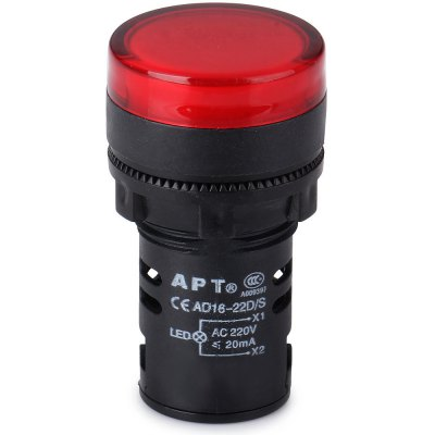 AD16  -  22D / S AC 220V 22mm LED Signal Indicator Lamp for Electronic DIY
