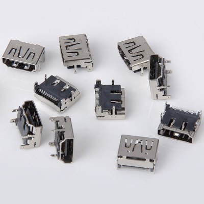 Practical DC 30V 1.5A DIY 19Pin HDMI Female 90 Degree Type A Socket Connector  -  10PCS