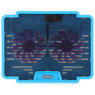 Фотография CoolCold K19 USB 2.0 Ultrathin Luminous Two Fans Notebook Cooling Fan with USB Power Supply for 14 / 15.6 / 17 inch Laptops