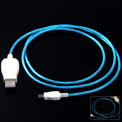 2 in 1 LED Luminous Micro 5Pin Round USB Cable - 1M