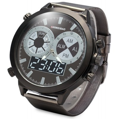 SHIWEIBAO A1052 Male Quartz Watch with Steel Watchband