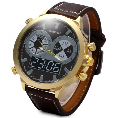 SHIWEIBAO A1052 Male Quartz Watch with Leather Watchband