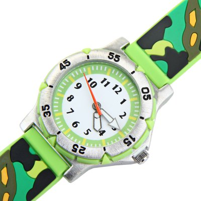Children 3D Camouflage Colors Quartz Watch Rubber Watch BandKids Watches<br>Children 3D Camouflage Colors Quartz Watch Rubber Watch Band<br><br>Watches categories: Children watch<br>Watch style: Lovely<br>Available Color: Blue, Green<br>Movement type: Quartz watch<br>Shape of the dial: Round<br>Display type: Analog<br>Case material: Stainless steel<br>Band material: Rubber<br>Clasp type: Pin buckle<br>The dial thickness: 0.8 cm / 0.3 inches<br>The dial diameter: 3.6 cm / 1.4 inches<br>The band width: 1.6 cm / 0.6 inches<br>Product weight: 36 g<br>Product size (L x W x H) : 23.1 x 3.6 x 0.8 cm / 9.1 x 1.4 x 0.3 inches<br>Package contents: 1 x Watch