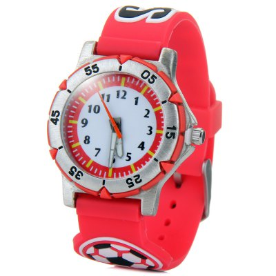 Children 3D Football Quartz Watch Rubber Watch Band
