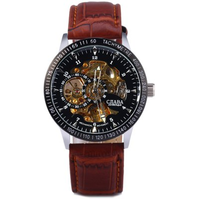 ФОТО CJIABA KB - 8006A Automatic Mechanical Watch Leather Strap Hollow - out Wristwatch for Men