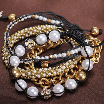 Chic Stylish Women's Beads Rhinestone Inlaid Design Layered Bracelet