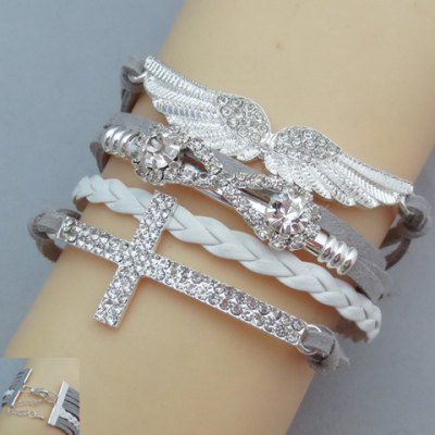 Chic Cross and Wing Shape Multi-Layered Womens Friendship BraceletBracelets &amp; Bangles<br>Chic Cross and Wing Shape Multi-Layered Womens Friendship Bracelet<br><br>Item Type: Charm Bracelet<br>Gender: For Women<br>Chain Type: Leather Chain<br>Metal Type: Alloy<br>Style: Trendy<br>Shape/Pattern: Others<br>Weight: 0.130KG<br>Package Contents: 1 x Bracelet