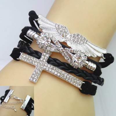 Cross and Wing Shape Multi-Layered Friendship Bracelet