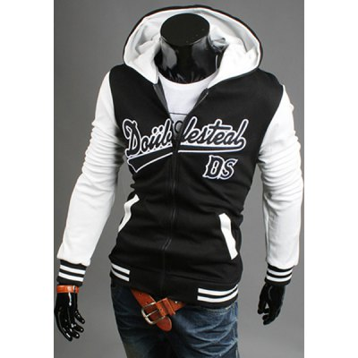 ФОТО Trendy Hooded Letters Embroidery Slimming Color Splicing Long Sleeves Men