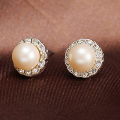 Pair of Ball Faux Pearl Rhinestone Earrings