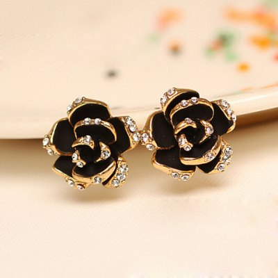 Pair of Chic Women's Rhinestone Color Glazed Rose Design Earrings