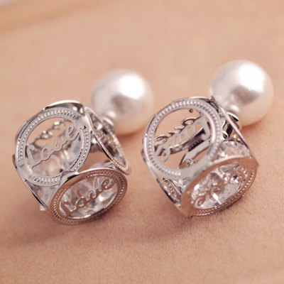 Pair of Openwork Love Faux Pearl Design Earrings