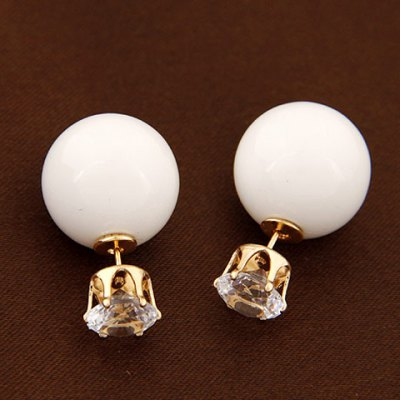 Pair of Sweet Candy Color Ball Embellished Diamante Stud Earrings