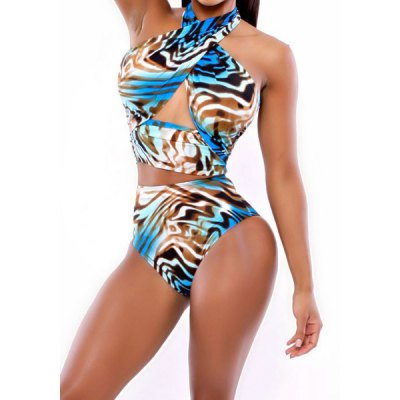 Fashionable Halter Print High-Waisted Bikini Set For WomenSwimwear<br>Fashionable Halter Print High-Waisted Bikini Set For Women<br><br>Gender: For Women<br>Material: Chinlon<br>Support Type: Wire Free<br>Pattern Type: Print<br>Swimwear Type: Bikini<br>Waist: High Waisted<br>Weight: 0.25KG<br>Package Contents: 1 x Bra  1 x Briefs