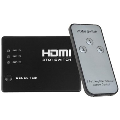 1080p 3 Ports HDMI Switcher + IR Receiver + Remote Control
