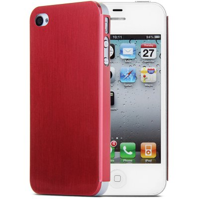 Brushed Back Cover Case with Solid Color for iPhone 4