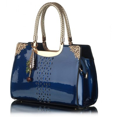 Trendy Openwork and Pandent Design Women's Patent Leather Tote Bag