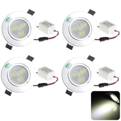 4 x Zweihnder 3 x 1W LED 6000  -  6500K 280Lm Aluminum Alloy Recessed Ceiling Downlight