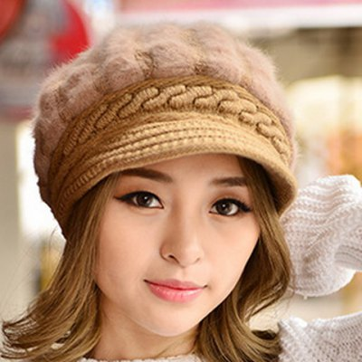 Faux Fur and Splicing Design Solid Color Visor
