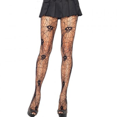 Pair of Chic Skull Pattern and Spider Web Shape Design Stockings For Women