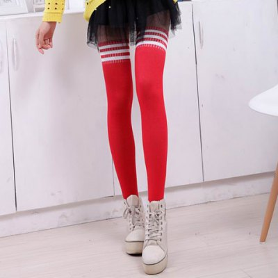 Pair of Fashionable Three Striped Pattern Design Overknee Stockings For Women