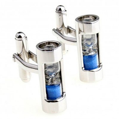 Pair of Chic Hourglass Embellished Cylinder Shape Cufflinks For Men