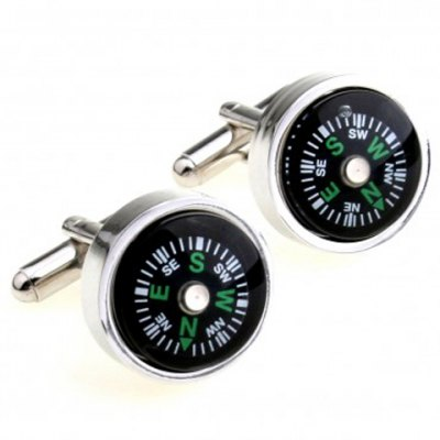 Pair of Chic Compass Design Round Shape Alloy Cufflinks For Men