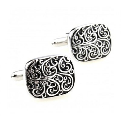 Pair of Retro Style Stereo Carve Design Alloy Cufflinks For Men