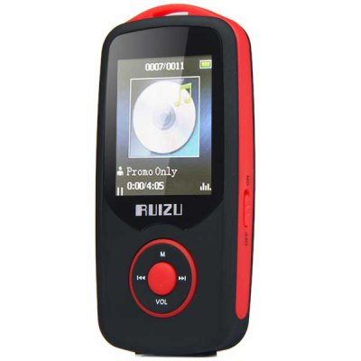 RUIZU X06 Bluetooth HIFI 4G MP3 PlayerMP3 &amp; MP4 Players<br>RUIZU X06 Bluetooth HIFI 4G MP3 Player<br><br>Brand: RUIZU<br>Model: X06<br>Color: Blue,Red<br>Interface: 3.5mm audio jack,Mini USB interface,TF/Micro SD Card Slot<br>FM radio: Yes<br>Bluetooth: Yes<br>Storage memory capacity : 4GB<br>Extension card : TF card (not included)<br>Max support memory: 64GB<br>Screen size: 1.8 inch<br>Touch screen: No<br>Audio support: MP3<br>E-book support : TXT<br>Product weight: 0.040 kg<br>Package weight: 0.120 kg<br>Product size (L x W x H): 9.00 x 4.50 x 1.20 cm / 3.54 x 1.77 x 0.47 inches<br>Package size (L x W x H): 18.00 x 11.00 x 4.00 cm / 7.09 x 4.33 x 1.57 inches<br>Package Contents: 1 x MP3 Player, 1 x USB Cable, 1 x Chinese User Manual, 1 x Earphone
