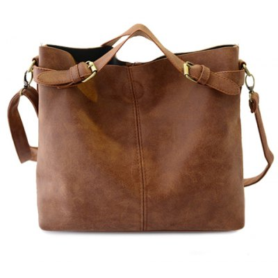 Simple Style Solid Color and Buckle Design Women's Tote Bag