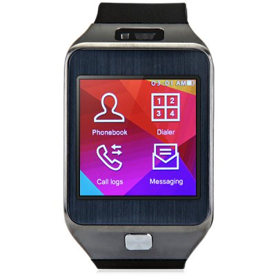 NO.1 G2 Bluetooth SmartwatchSmart Watches<br>NO.1 G2 Bluetooth Smartwatch<br><br>Alert type: Vibration<br>Anti-lost: Yes<br>Band material: TPU<br>Battery Capacity: 350mAh battery<br>Bluetooth calling: Dialing,Phone call reminder,Call log sync,Answering<br>Bluetooth Version: Bluetooth 4.0<br>Brand: NO.1<br>Built-in chip type: MTK2502<br>Camera: Yes<br>Camera Pixel : 0.3MP<br>Case material: Metal<br>Compatability: Android and iOS system<br>Compatible OS: Android, IOS<br>Dial size: 5.8 x 3.7 x 1.0 cm / 2.28 x 1.45 x 0.39 inches<br>Health tracker: Heart rate monitor,Sedentary reminder,Sleep monitor,Pedometer<br>Language: Simplified / TraditionalChinese,English,French,Spanish,Portuguese,Russian,Italian,Deutsch<br>Locking screen : 4 kinds<br>Messaging: Message reminder,Message checking<br>Other Functions: Voice recorder, Alarm, Calender<br>Package Contents: 1 x NO.1 G2 Watch, 1 x Charging Dock, 1 x Charging Cable, 1 x Chinese and English Manual<br>Package size (L x W x H): 11.00 x 9.50 x 8.50 cm / 4.33 x 3.74 x 3.35 inches<br>Package weight: 0.230 kg<br>Product weight: 0.041 kg<br>Remote Control: Music remote<br>Screen: TFT<br>Screen resolution: 240 x 240 px<br>Screen size: 1.54 inch<br>Shape of the dial: Rectangle<br>Waterproof: Yes<br>Waterproof Rating : Life Water Resistance