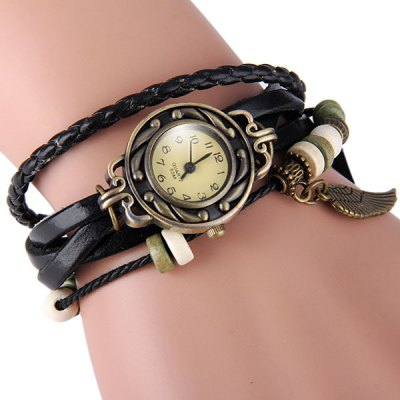 E048 Vintage Style Female Watch Wing Pendant Weave Wrap around Leather Watchband Round Dial